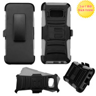 Advanced Armor Hybrid Kickstand Case with Holster for Samsung Galaxy S8 - Black Grey