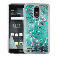 Quicksand Glitter Transparent Case for LG Stylo 3 / Stylo 3 Plus - Teal Green