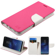 Diary Leather Wallet Case for Samsung Galaxy S8 - Hot Pink