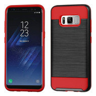 Brushed Hybrid Armor Case for Samsung Galaxy S8 - Black Red