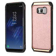 Electroplated Tough Hybrid Case with Leather Backing for Samsung Galaxy S8 Plus - Rose Gold