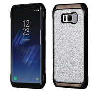 Tough Hybrid Case with Glitter Backing for Samsung Galaxy S8 Plus - Silver