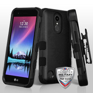 Military Grade Certified TUFF Hybrid Armor Case with Holster for LG K20 Plus / K20 V / K10 (2017) / Harmony - Black