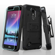 *SALE* Kinetic Hybrid Case + Holster + Tempered Glass Protector for LG K20 Plus / K20 V / K10 (2017) / Harmony - Black