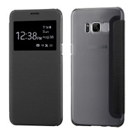 Book-Style Hybrid Flip Case with Window Display for Samsung Galaxy S8 - Black