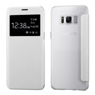 Book-Style Hybrid Flip Case with Window Display for Samsung Galaxy S8 - White