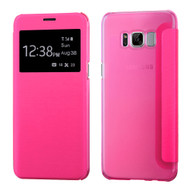 Book-Style Hybrid Flip Case with Window Display for Samsung Galaxy S8 - Hot Pink