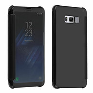 Electroplating Book-Style Case with Semi-Transparent Flip Cover for Samsung Galaxy S8 - Black