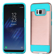 Brushed Hybrid Armor Case for Samsung Galaxy S8 Plus - Rose Gold Teal