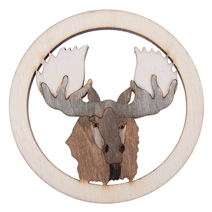 Hand Carved Wooden Moose Head Coasters 4pcs Newfette Designs