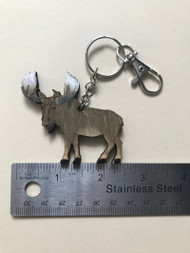 Hand carved moose keychain