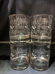 Set of 4 Whiskey Glasses with Welcome to our campsite engraved into the glass