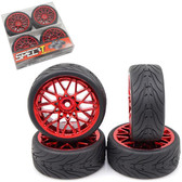 Yeah Racing WL-0108 Spec T LS Offset 3 Red Wheels w/Tires 4pcs For 1/10 Touring