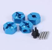 Yeah Racing WA-017BU Blue Aluminum Wheel Adapter Set for All Tamiya 1/10 Car