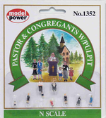 Model Power 1352 Pastor with Congregation and Pulpit Pkg (9) N Scale