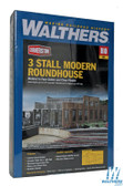 "Walthers 933-2900 3-Stall Modern Roundhouse Kit 16 x 20-1/8 x 5-1/2"" : HO Scale"