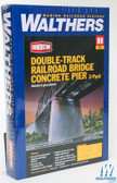 Walthers 933-4552 Double-Track Railroad Bridge Concrete Pier 2-Pack : HO Scale