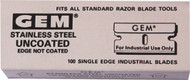"1"" GEM Single Edge Stainless Steel Blades (100 Pack)"