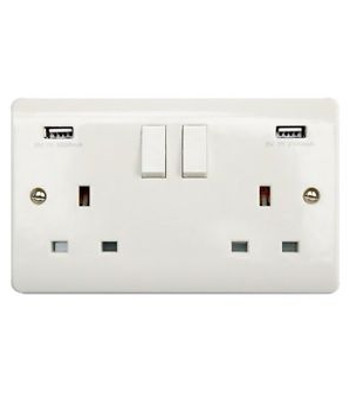 DOUBLE UK WALL SOCKET WITH USB