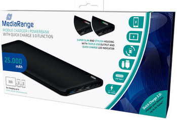 MR754 Mobile Charger/Power Bank. 25.000mAh with USB-C power delivery fast charging.