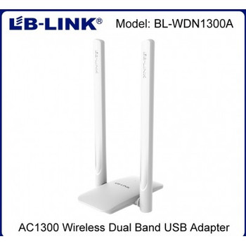 BL-WDN1300A LB-LINK WIRELESS DUAL BAND USB3.00 ADAPTER. AC1300M WI-FI TRANSMITION DUAL BAND 2.4G(400Mbps) AND 5G(867Mbps) 2x6dbi HIGH GAIN ANTENNAS