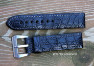 Panerai OEM Mare Nostrum black alligator strap with Pre A Sewn in Buckle