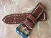 Mario Paci Wine Colored 24mm strap with sewn in MP buckle $165 USD