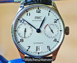 IWC Portuguese 7 Day Automatic Steel White Dial Blue Hands, IW5007-05