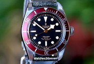 "Tudor Heritage Black Bay ""Red"" on Distressed Black Calf Strap 41mm"