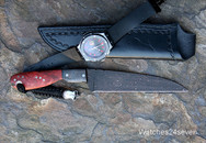 "Brothersville Pruyn ""Love kills"" Damascus Fighter Fixed Blade w Sheath"