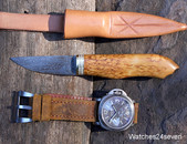 J.P. Miller Damascus Burlwood Camp Knife Fixed Blade with Sheath: SOLD