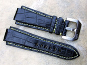 Simona Straps for Audemars Piguet Watches Black Alligator Yellow Stiching with buckle Old Style lugs