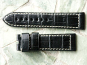 Louisiana Alligator Strap Black w White Stitching