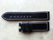 Horween Shell Cordovan 24/22 mm Black with White Stitching / Standard 115/75 mm Length