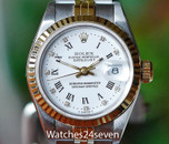 Rolex Ladies Datejust Two Tone Jubiliee White Diamond Dial 26mm