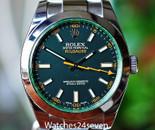Rolex Milgauss Steel Black Dial Green Crystal 40mm Ref. 116400GV