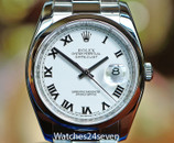 Rolex Datejust Steel White Dial Smooth Bez Oyster Brac 36mm Ref. 116200M