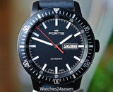 Fortis Monolith Black Case & Dial Automatic Day Date Diver 42mm