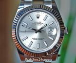 Rolex Datejust 41 Silver Stick Dial Fluted Bezel Steel Oyster Bracelet