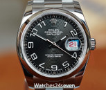 Rolex Datejust 36 Oystersteel Black Textured Circle Dial Smooth Bezel, Ref. 116200