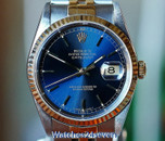 Rolex Datejust Two Tone on Jubiliee Bracelet Blue Sunburst Dial 36mm