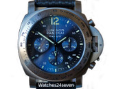 Panerai PAM 326 L Luminor Daylight Chronograph Blue Sunburst Dial Titanium 44mm