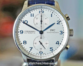 IWC Portugieser Chronograph Silver Dial Blue Hands & Markers 41mm ON HOLD