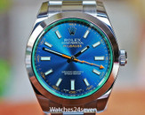 ROLEX Milgauss Steel Automatic Blue Dial Green Crystal 40mm