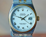 Rolex Oysterquartz Datejust Two Tone White Roman Dial Fluted Gold Bezel