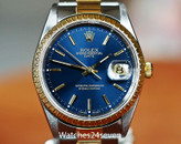 ROLEX DATEJUST TWO TONE ON OYSTER BRACELET BLUE DIAL 34MM ON HOLD