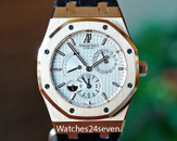 Audemars Piguet Dual Time Rose Gold Siver Dial on Alligator Strap 39mm