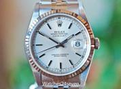 Rolex Datejust Silver Stick Dial, Fluted Bezel, Jubilee Bracelet Steel 36mm