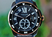 Cartier Calibre de Cartier Carbon Diver 18K Rose Gold Bezel on Rubber 42mm