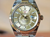 Rolex Sky-Dweller Yellow Gold & Steel Watch Champagne Dial 42mm